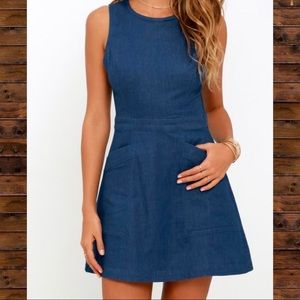 NWT - Lulus Lush chambray dress with cut out back